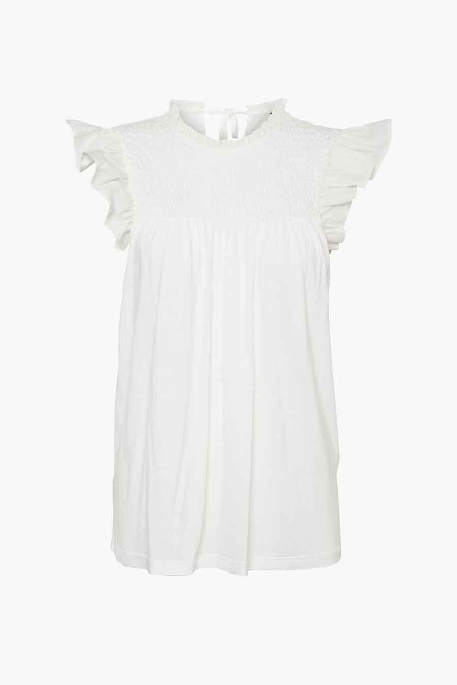 Vero Moda® Blouse korte mouwen, Wit, Dames, Maat: L/M/S