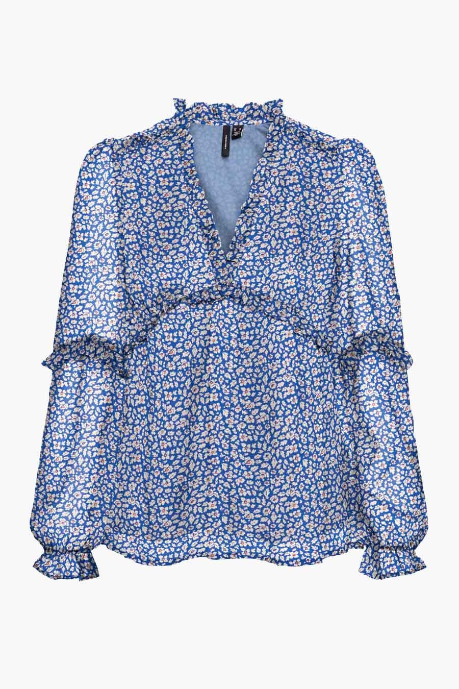 Vero Moda® Blouse lange mouwen, Blauw, Dames, Maat: M/S