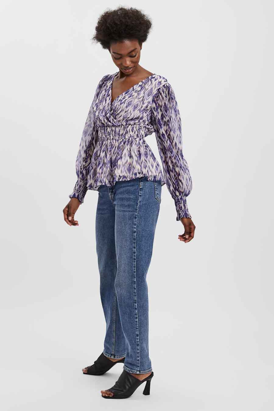 Vero Moda® Blouse lange mouwen, Beige, Dames, Maat: L/M/S/XL/XS