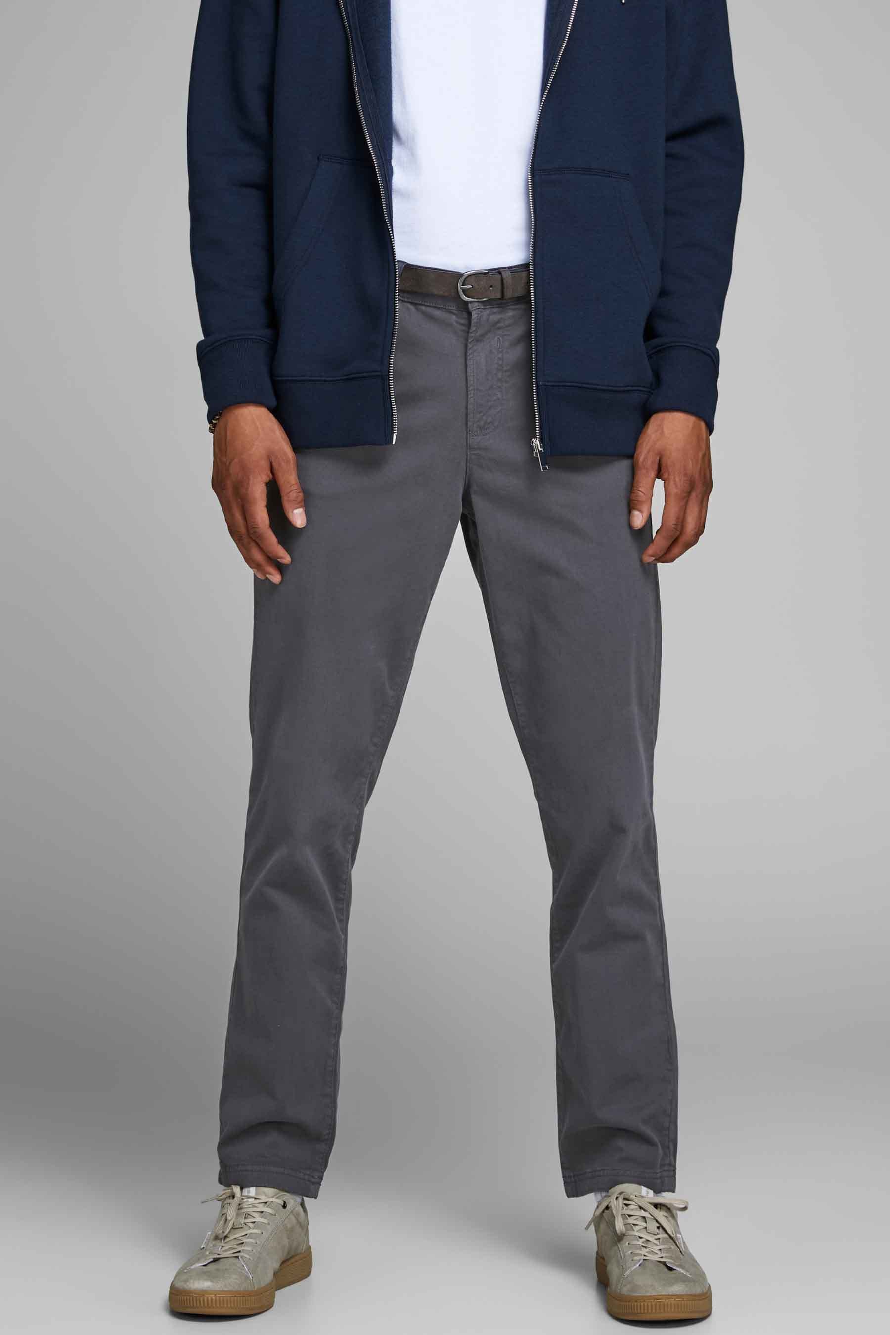 Jack & Jones Jeans Intelligence Chino, Grijs, Heren, Maat: 27x32/28x34/29x34