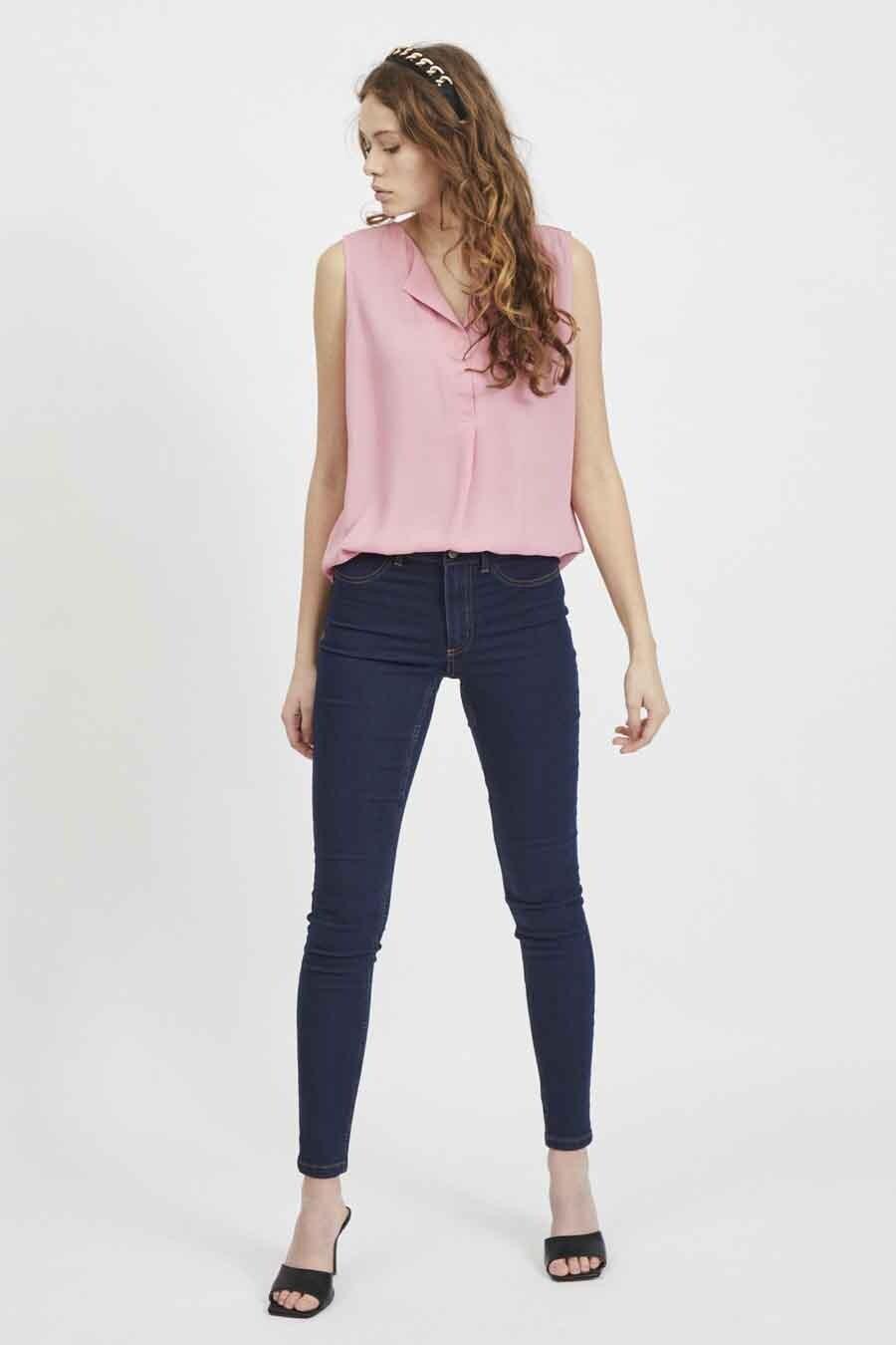 VILA® Blouse zonder mouwen, Roze, Dames, Maat: M/S/XL