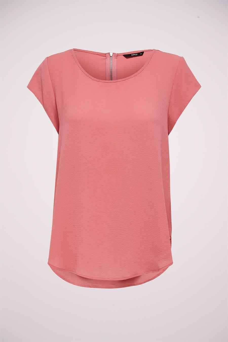 ONLY® Blouse korte mouwen, Roze, Dames, Maat: 34/36/38/40/42