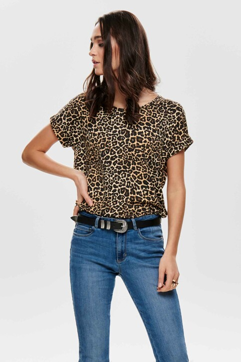ONLY® T-shirts (manches courtes) brun 15182852_BLACK LEO img1