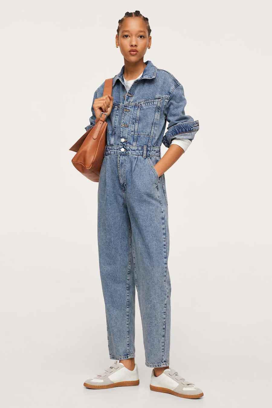 Mango Jumpsuit, Mid Blue Denim, Dames, Maat: L/M/S/XL/XS
