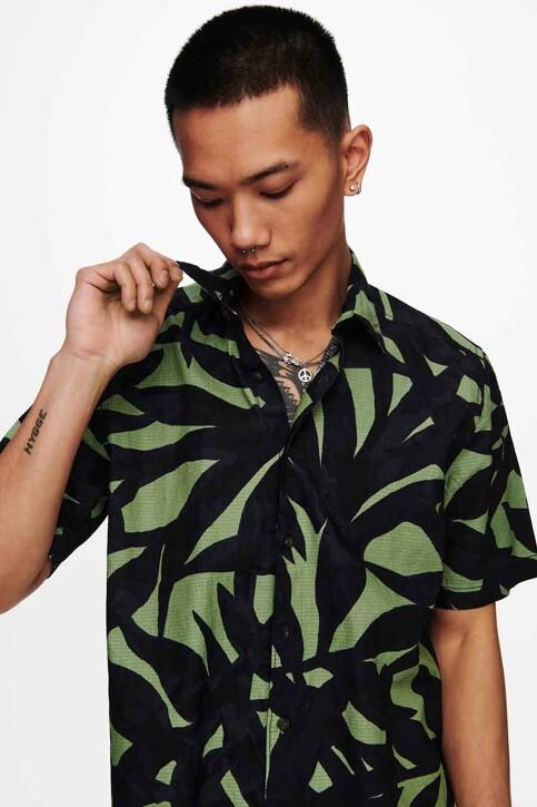 ONLY & SONS® Hemden (korte mouwen) groen 22019186_HEDGE GREEN img4