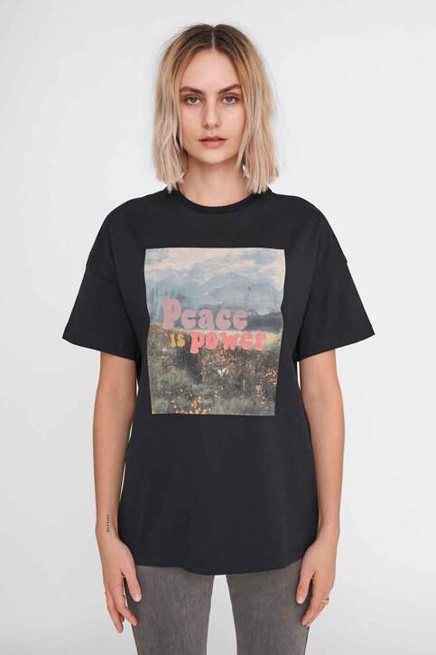 NOISY MAY T-shirts (korte mouwen) zwart 27016251_BLACK FRONT PRI img1