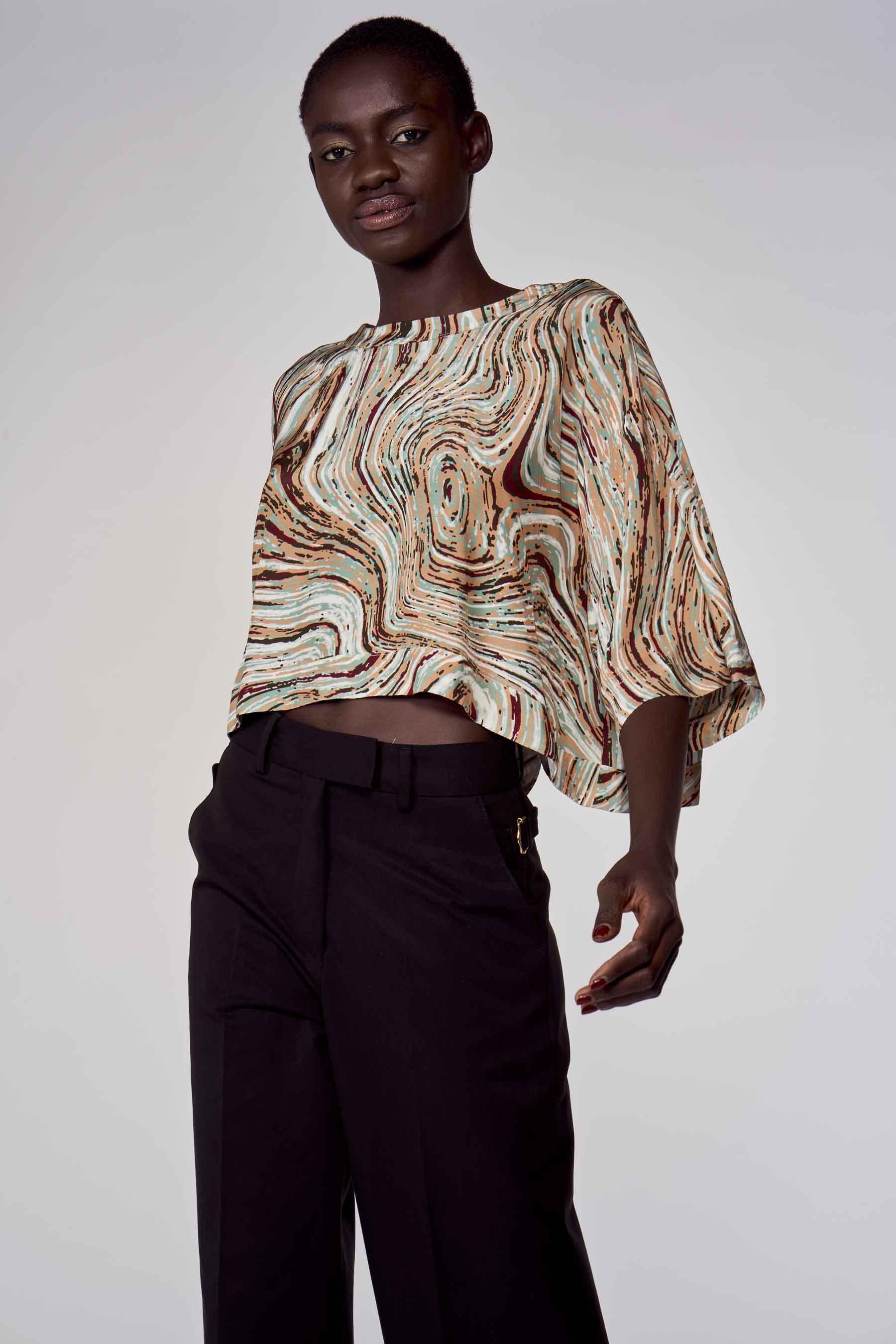 Astrid Black Label Blouse korte mouwen, Multicolor, Dames, Maat: L/M/S/XL