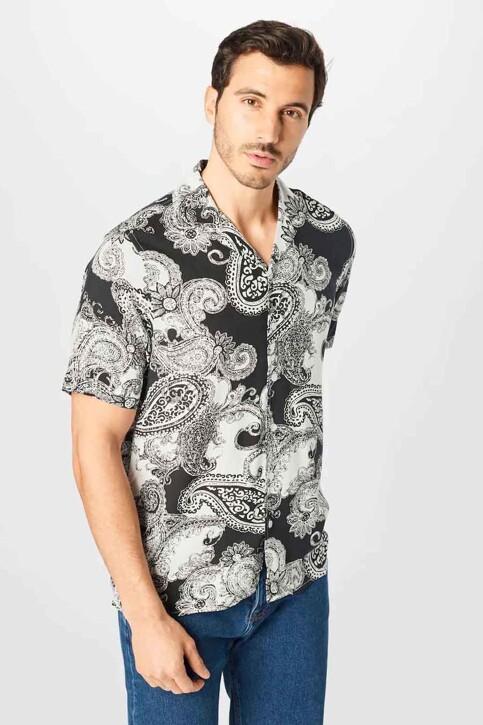 DENIM PROJECT Hemden (korte mouwen) zwart DPSS20300_BLACK WHITE img1