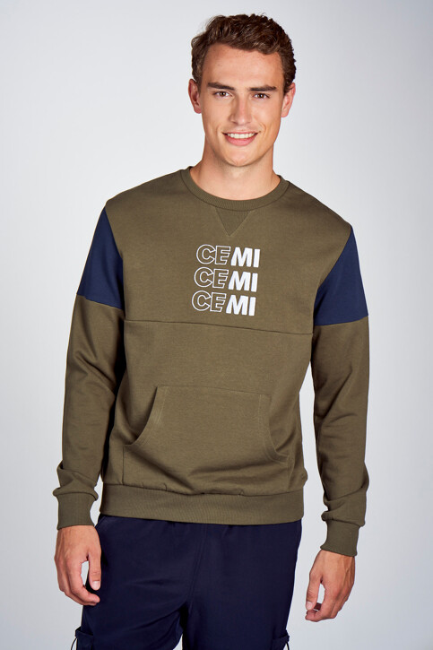 CEMI by Céline & Michiel Sweaters met ronde hals groen EMI202MT 006_OLIVE NIGHT img1