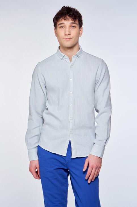 Le Fabuleux Marcel de Bruxelles Hemden (lange mouwen) blauw IMP211MT 038_CHAMBREY BLUE img2