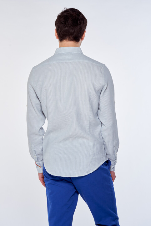 Le Fabuleux Marcel de Bruxelles Hemden (lange mouwen) blauw IMP211MT 038_CHAMBREY BLUE img3