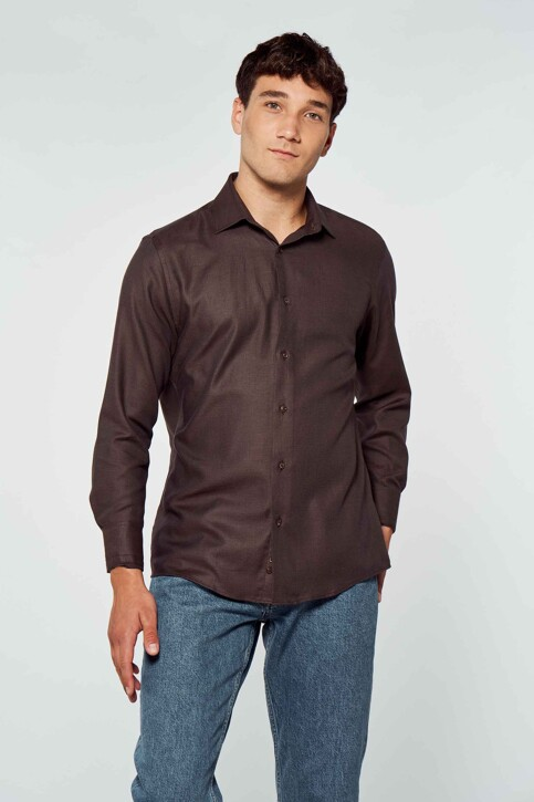 Le Fabuleux Marcel de Bruxelles Hemden (lange mouwen) bruin IMP212MT 011_BROWN img1