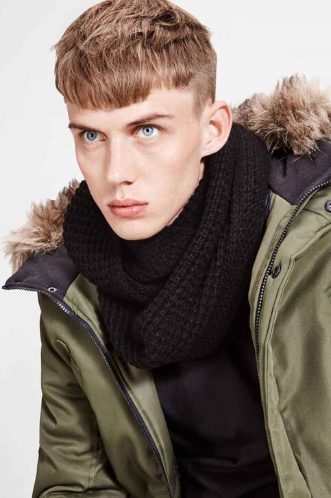 ACCESSORIES BY JACK & JONES Wintersjaals zwart JACWAFFLE KNIT TUBE_BLACK img1