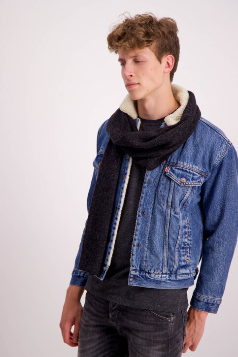 ACCESSORIES BY JACK & JONES Echarpes gris JCONEAL KNIT SCARF_DARK GREY MEL img1
