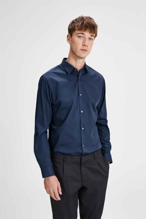 PREMIUM by JACK & JONES Chemises (manches longues) bleu JPRNON IRON SHIRT LS_NAVY BLAZER img1