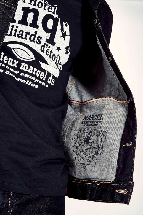 Le Fabuleux Marcel de Bruxelles Jassen (jeans) blauw MDB RIDER JACKET MEN_BLUE img4