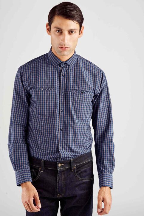 Le Fabuleux Marcel de Bruxelles Hemden (lange mouwen) blauw MDB182MT 014_NAVY CHECK img1