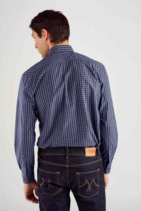 Le Fabuleux Marcel de Bruxelles Hemden (lange mouwen) blauw MDB182MT 014_NAVY CHECK img3