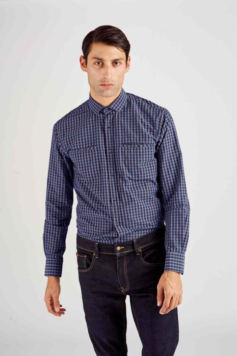 Le Fabuleux Marcel de Bruxelles Hemden (lange mouwen) blauw MDB182MT 014_NAVY CHECK img4