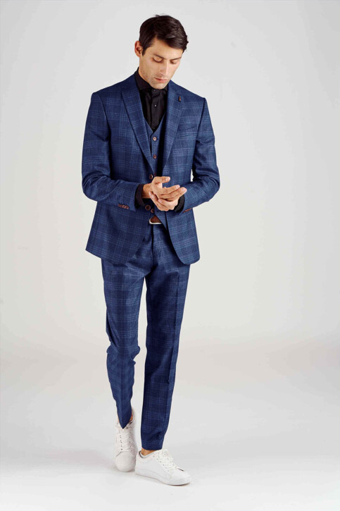 Le Fabuleux Marcel de Bruxelles Blazers bleu MDB182MT 018_BLUE CHECK img2