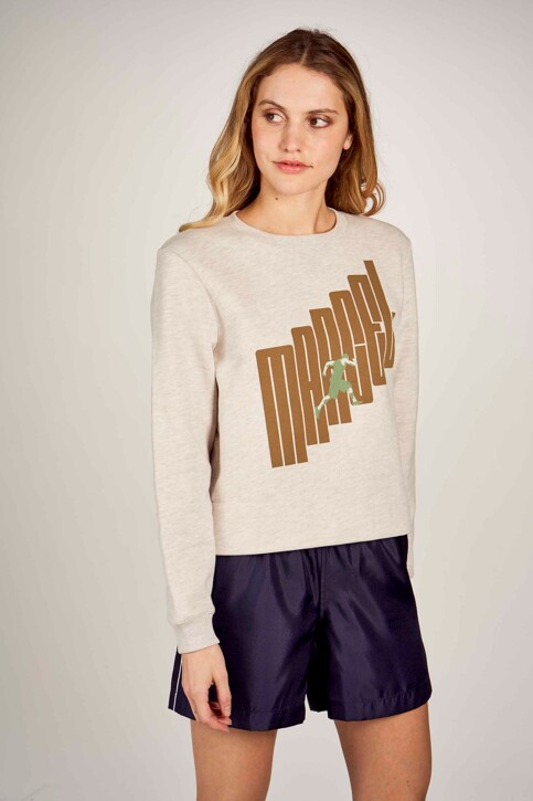 Le Fabuleux Marcel de Bruxelles Sweaters met ronde hals ecru MDB211WT 014_GREIGE MELEE img3