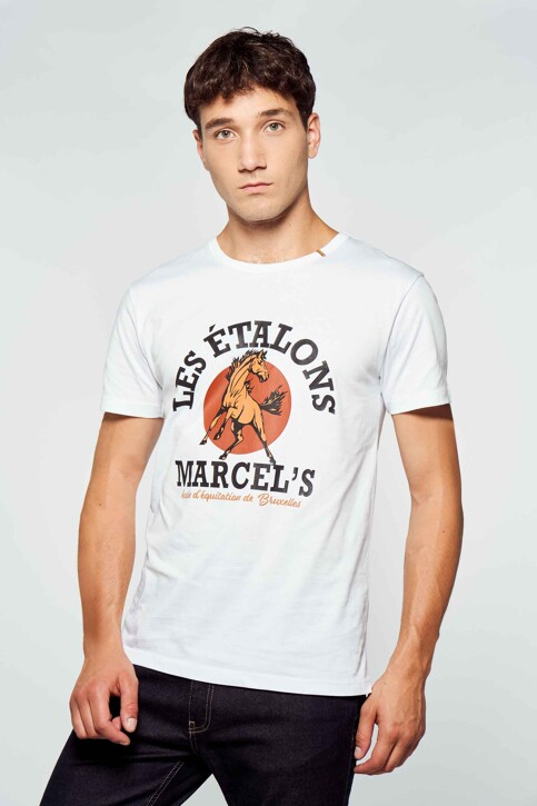 Le Fabuleux Marcel de Bruxelles T-shirts (korte mouwen) wit MDB212MT 003_WHITE img1