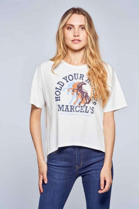 Le Fabuleux Marcel de Bruxelles T-shirts (korte mouwen) wit MDB212WT 039_GARDENIA img1