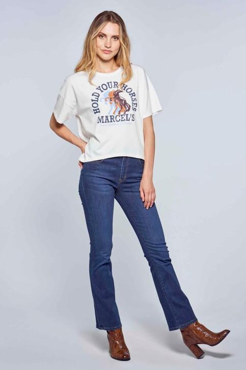 Le Fabuleux Marcel de Bruxelles T-shirts (korte mouwen) wit MDB212WT 039_GARDENIA img2