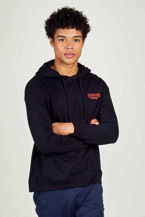 STRANGER THINGS Sweaters met kap zwart STT3025B_BLACK img1