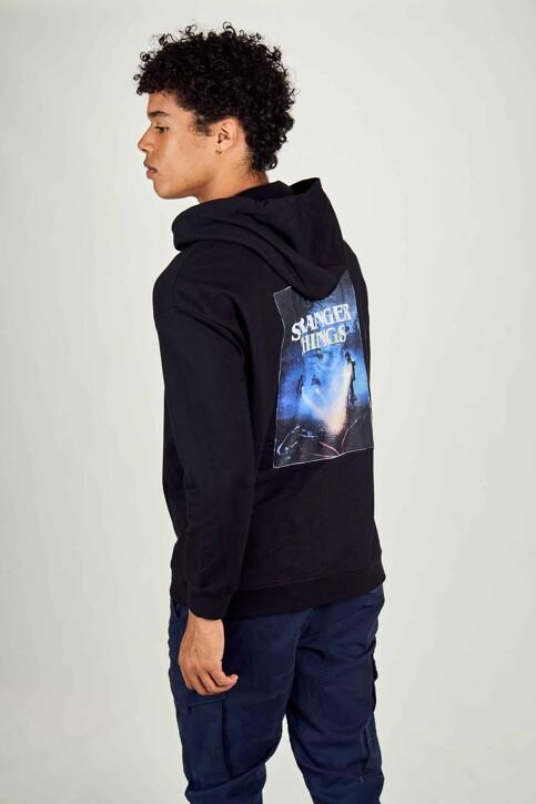 STRANGER THINGS Sweaters met kap zwart STT3025B_BLACK img3